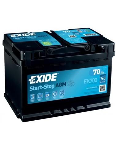 Batería Exide EK700 - AGM - 12V - 70Ah - 760A - Start-Stop
